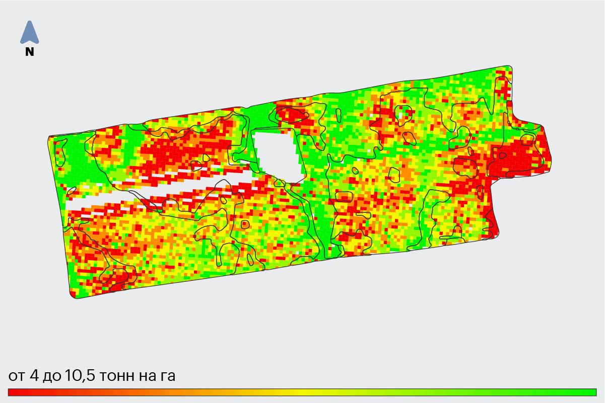 Карта урожайности поля Аполлон. Создана по данным с бортового компьютера.